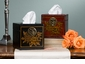 Black Leather Covered Wood Locking Tissue Box Home Decor