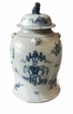 Dessau Home Blue And White Covered Tea Jar Home Decor