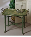 Dessau Home Blue Green Wood Tray & Stand Home Decor