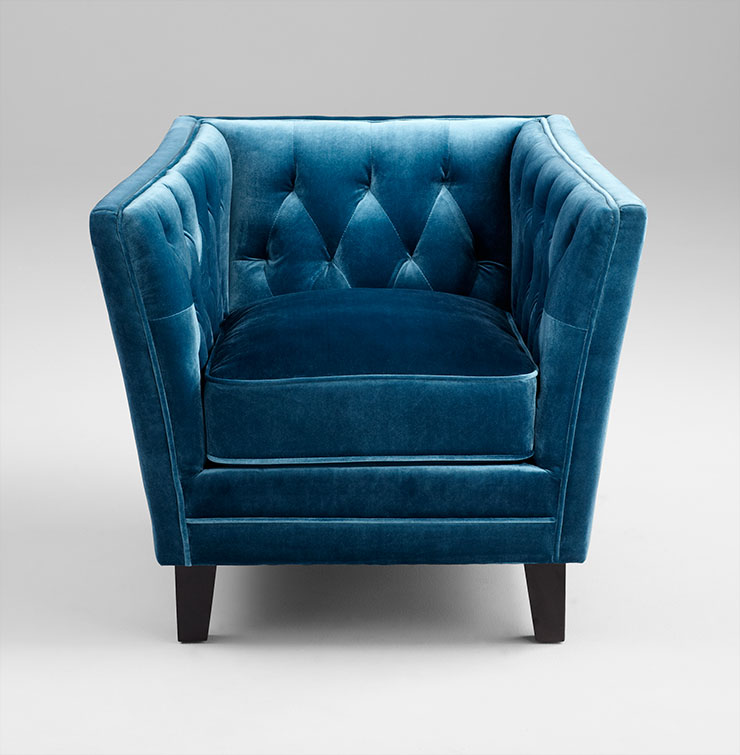 Blue Tufted Square Back Chair by Cyan Design