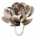 Bodrum Metal Lily Silver Napkin Rings 4 Pack