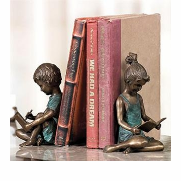 Brass Boy and Girl Bookends by SPI Home