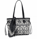 Brighton Amara Scarf Tote - Black and White