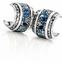 Brighton Blue Crystal Voyage Heart Hoop Post Earrings