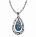 Brighton Blue Crystal Voyage Teardrop Convertible Long Necklace