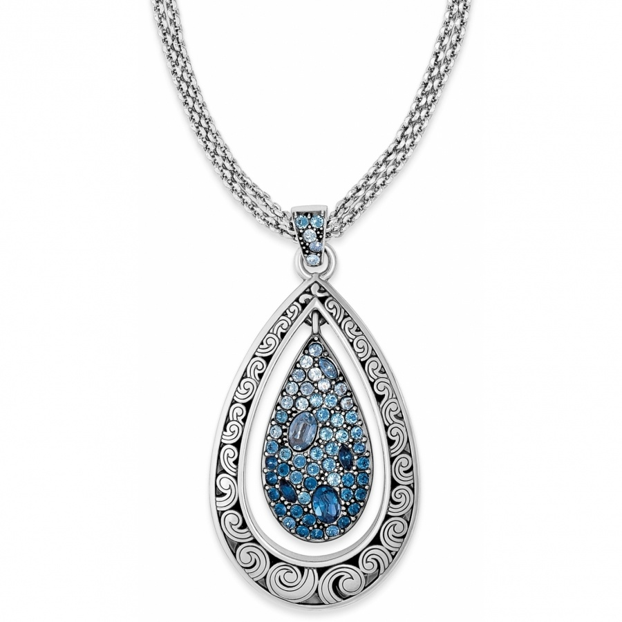 Brighton blue crystal voyage teardrop convertible long necklace mozeypictures Choice Image