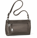 Brighton Bria Leather Messenger Compact Purse - Pewter