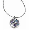 Brighton Halo Necklace with Lavender and Aqua Swarovski Crystals