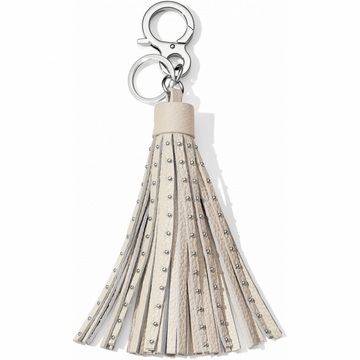 Brighton Rockstar Leather Tassel Fob - White