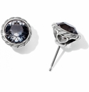Brighton Silver Iris Black Stud Earrings