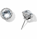Brighton Silver Iris Crystal Stud Earrings