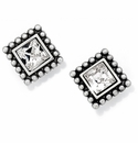 Brighton Silver Sparkle Square Mini Post Earrings