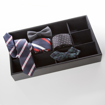Brouk and Co Roll 'Em Up Tie Box, Black Leather
