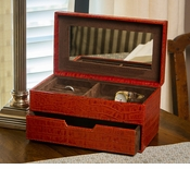 Burnt Orange Croc Jewelry Box Home Decor