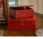 Dessau Home Burnt Orange Croc  (Set of 2) Boxes Home Decor