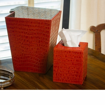 Dessau Home Burnt Orange Croc Tissue Box Home Decor
