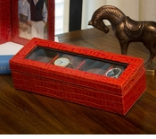 Burnt Orange Watch Box (Holds Four) Home Decor