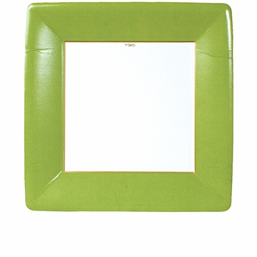 Caspari Grosgrain Border Moss Green Square Dinner Plates