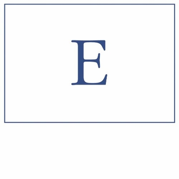 Caspari Navy Embossed Note Cards Initial E