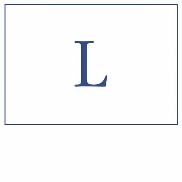 Caspari Navy Embossed Note Cards Initial L