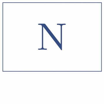 Caspari Navy Embossed Note Cards Initial N
