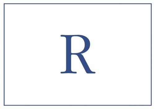caspari navy embossed note cards initial r - Initial Note Cards