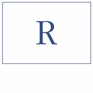 Caspari Navy Embossed Note Cards Initial R