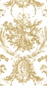 Caspari Romantic Toile Gold-Paper Linen Guest Towels 12 In