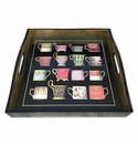 Caspari Salon De The-Black Lacquer Tray-14X14