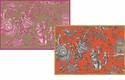 Caspari Silk Road Toile-Bronze/Coral Assorted Notes 8 In
