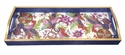 Caspari Tobacco Leaf White Lacquer Bar Tray-20X8