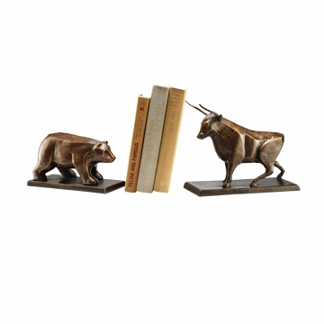 Cast Iron Bull and Bear Bookends by SPI Home