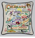 Cat Studio Embroidered State Pillow - Colorado