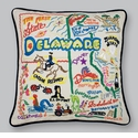 Cat Studio Embroidered State Pillow - Delaware