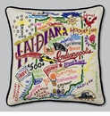Cat Studio Embroidered State Pillow - Indiana