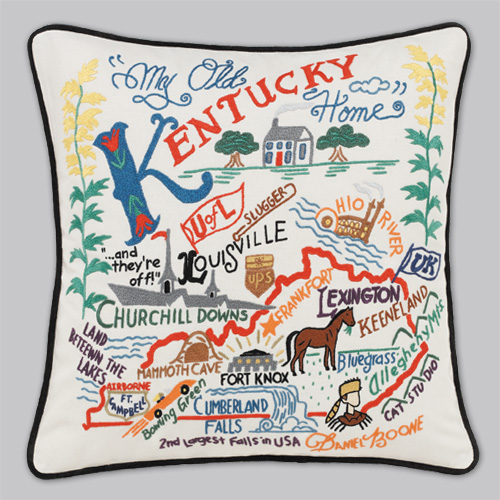 Embroidered State Throw Pillows : Cat Studio Embroidered State Pillow - Kentucky