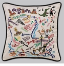 Cat Studio Embroidered State Pillow - Louisiana