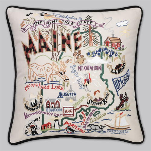 Embroidered State Throw Pillows : Cat Studio Embroidered State Pillow - Maine