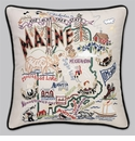Cat Studio Embroidered State Pillow - Maine