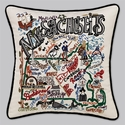 Cat Studio Embroidered State Pillow - Massachusetts