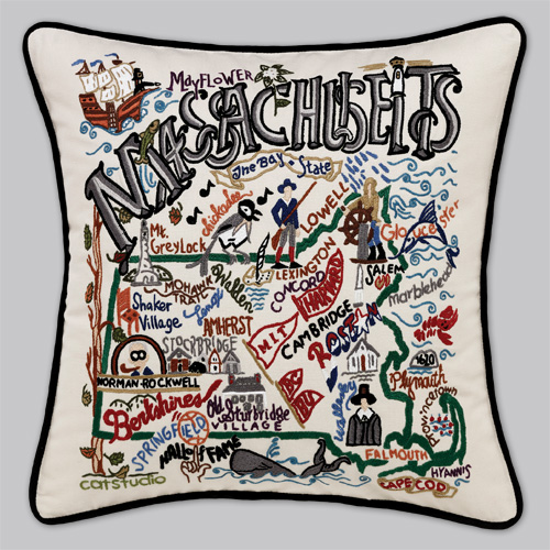 Embroidered State Throw Pillows : Cat Studio Embroidered State Pillow - Massachusetts