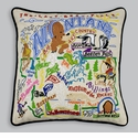 Cat Studio Embroidered State Pillow - Montana