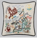 Cat Studio Embroidered State Pillow - Rhode Island