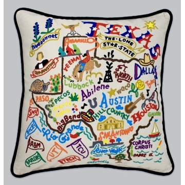 Cat Studio Embroidered State Pillow - Texas