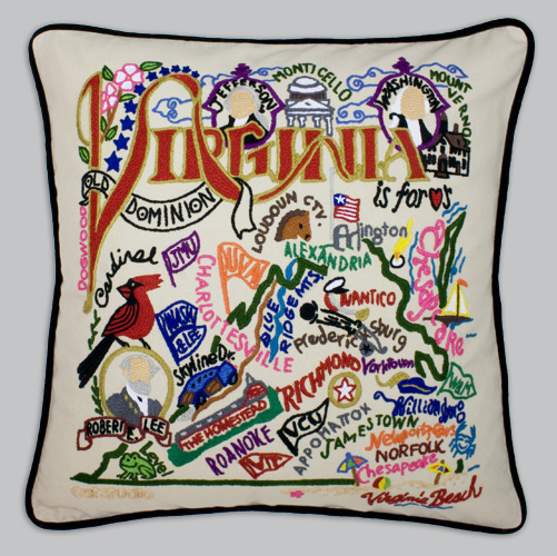 pillows virginia embroidered studio pillow cat state