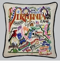 Cat Studio Embroidered State Pillow - Virginia