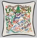 Cat Studio Embroidered State Pillow - Washington