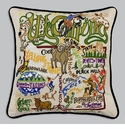 Cat Studio Embroidered State Pillow - Wyoming