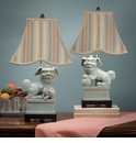 Dessau Home Celadon Foo Dog Lamps with Striped Shade Home Decor