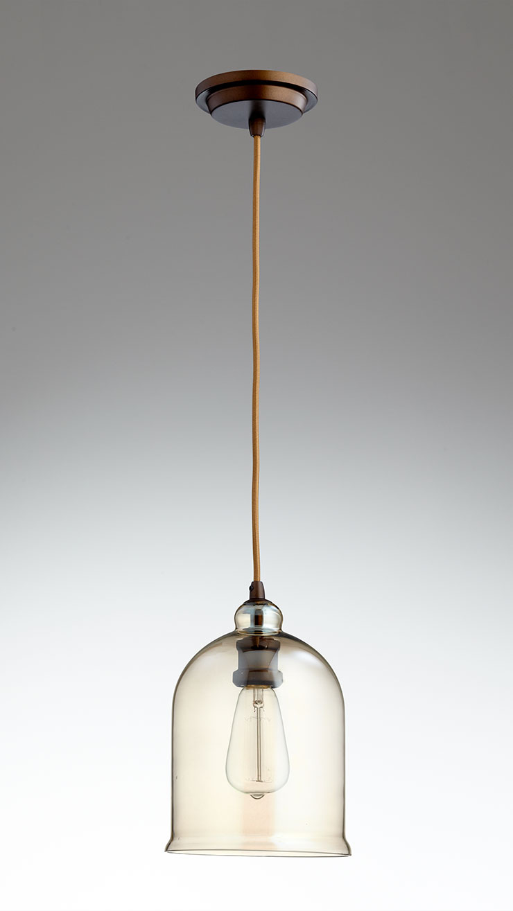 Celia Bronze And Cognac Glass Pendant Light By Cyan Design